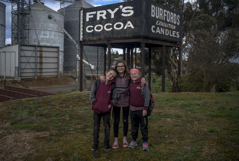 3 kids, silo,  Frys' Cocoa